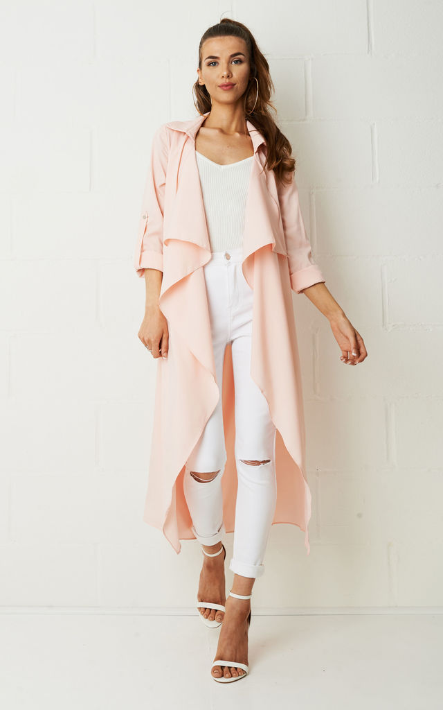 Maddison Silky Duster Coat In Pink by Frontrow Limited