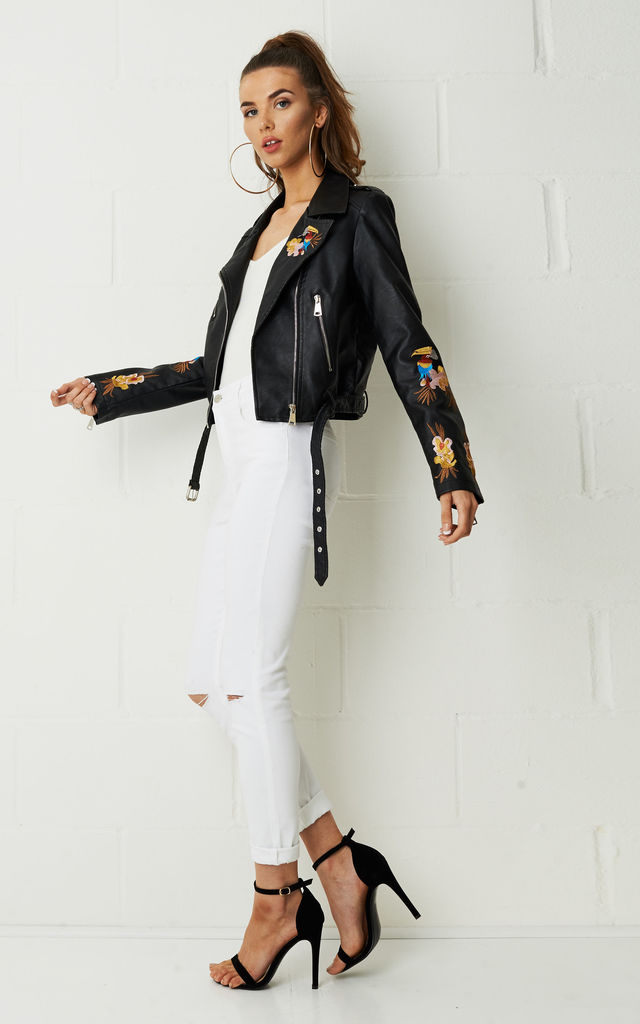 Deiana Floral Embroidered Black Faux Leather Jacket by Frontrow Limited