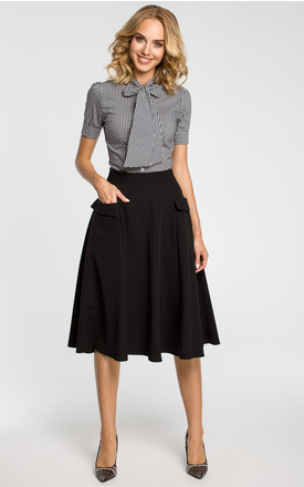 Black elegant midi skirt with side pockets with large flaps by MOE
