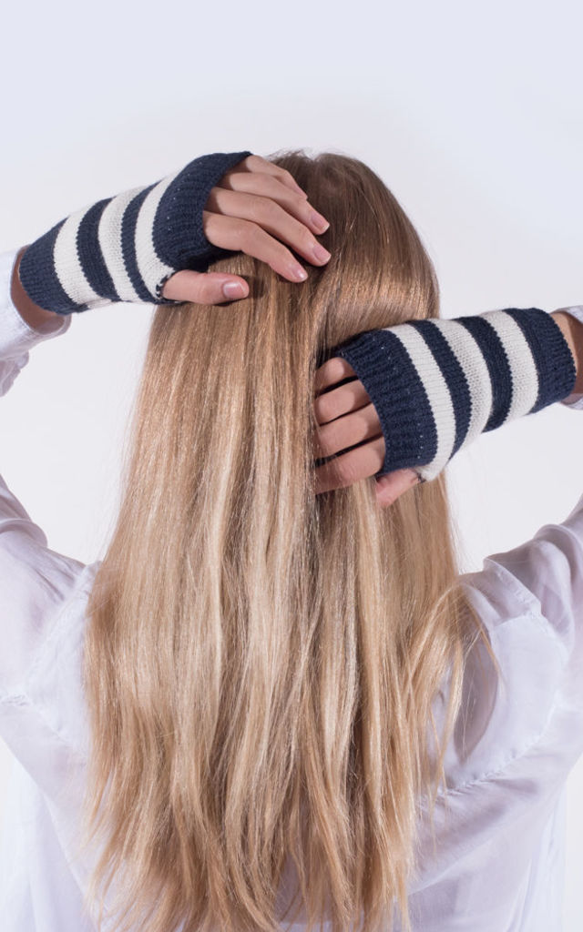 Navy and White Striped Gloves by Amelia Jane London