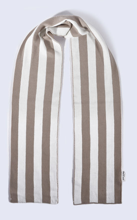 Oatmeal and White Striped Scarf by Amelia Jane London