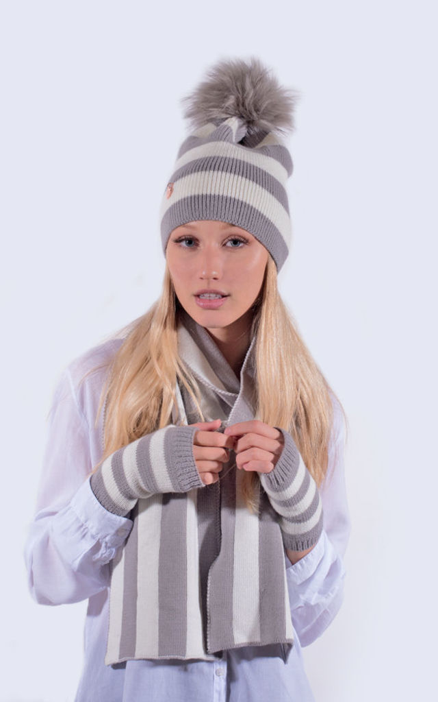 Light Grey and White Striped Set by Amelia Jane London