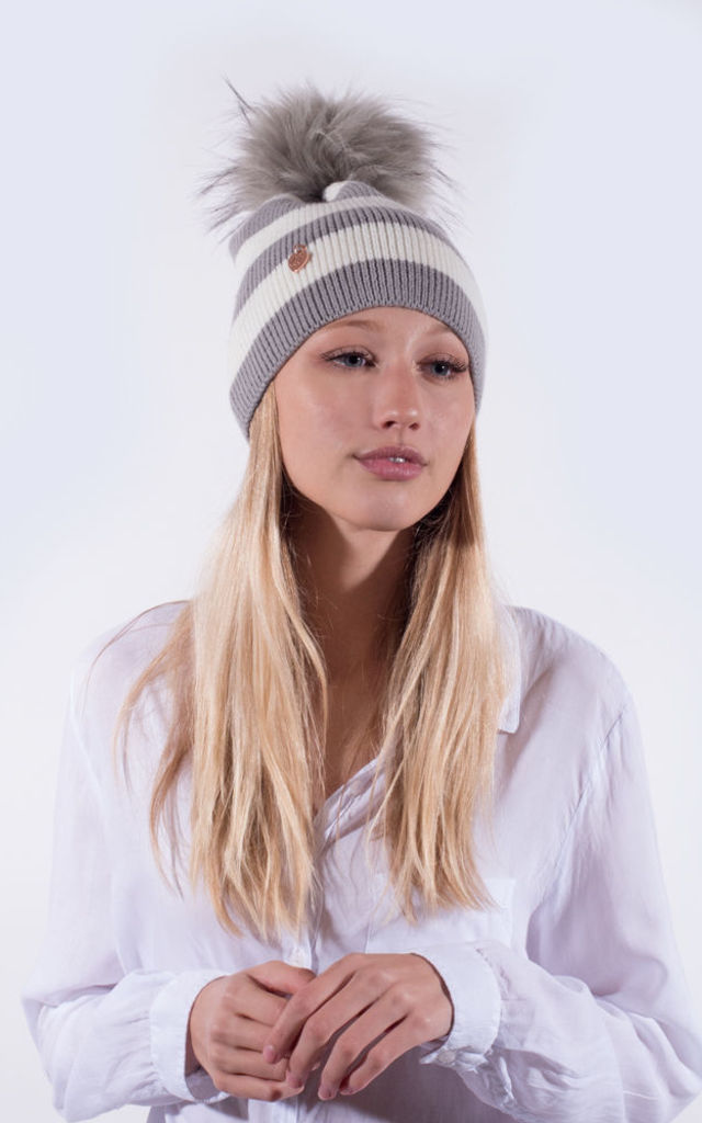 Light Grey and White Striped Beanie with Grey Faux Fur Pom by Amelia Jane London
