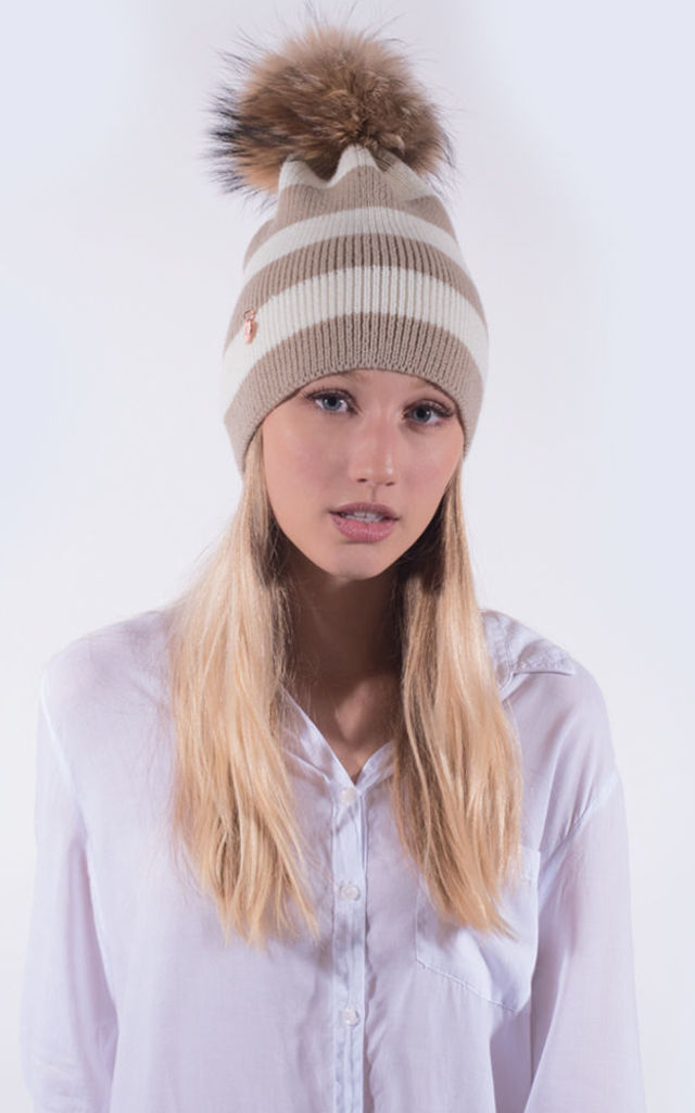 Oatmeal and White Striped Beanie by Amelia Jane London