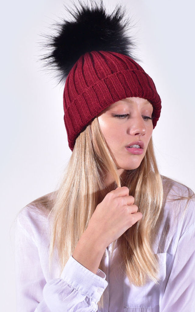 25d476c691e Burgundy Hat with Black Faux Fur Pom by Amelia Jane London