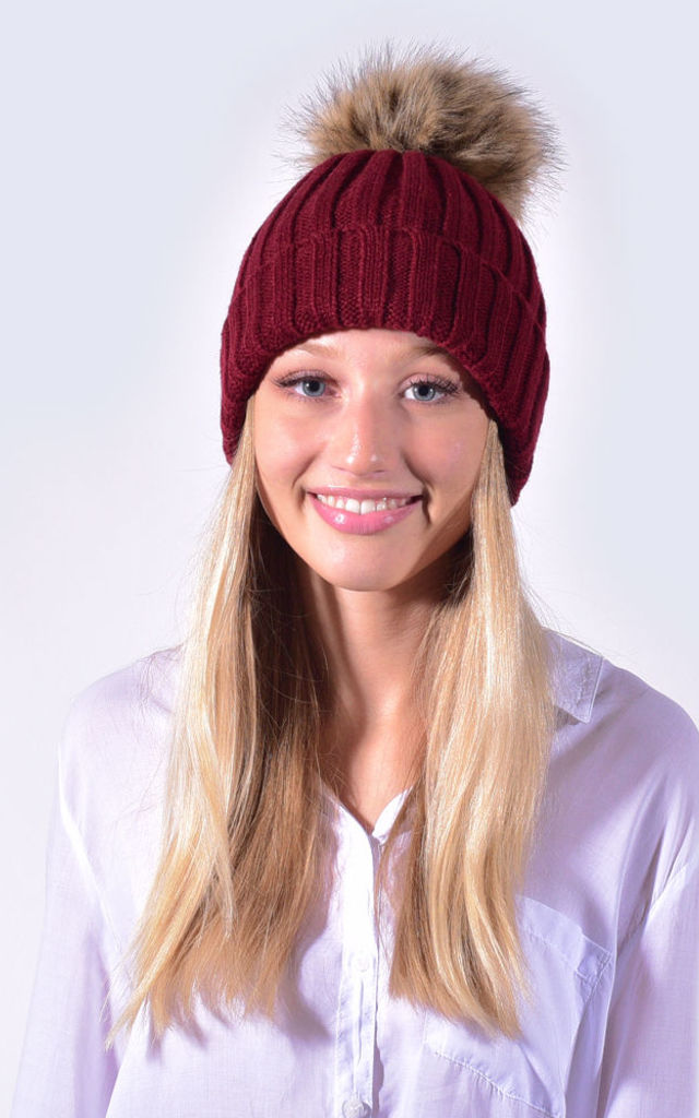 d69fc07df8f Burgundy Hat with Brown Faux Fur Pom by Amelia Jane London