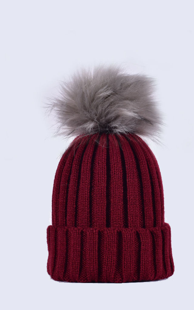 20988e34a0e Burgundy Hat with Grey Faux Fur Pom by Amelia Jane London