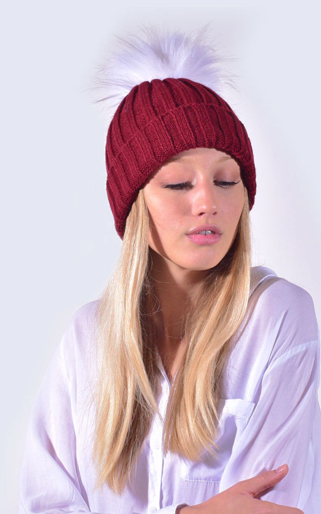 22525777a24 Burgundy Hat White Faux Fur Pom by Amelia Jane London