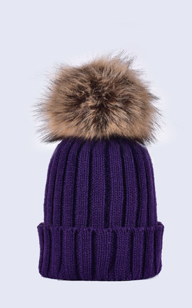 Deep Purple Hat with Brown Faux Fur Pom by Amelia Jane London