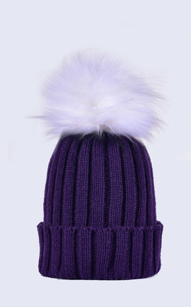 Deep Purple Hat White Faux Fur Pom by Amelia Jane London