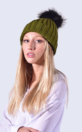 Khaki Green Hat Black Faux Fur Pom by Amelia Jane London
