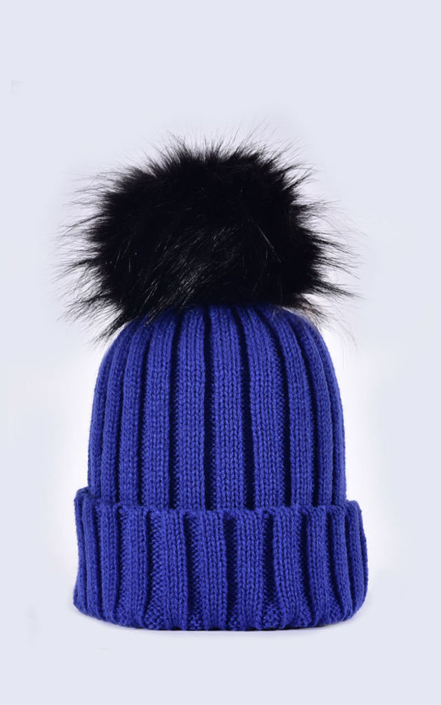 Royal Blue Hat Black Faux Fur Pom by Amelia Jane London