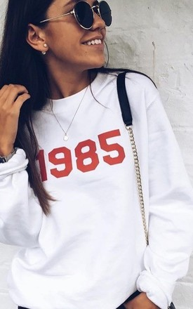 Personalised Year Sweatshirt - White Red by Rock On Ruby