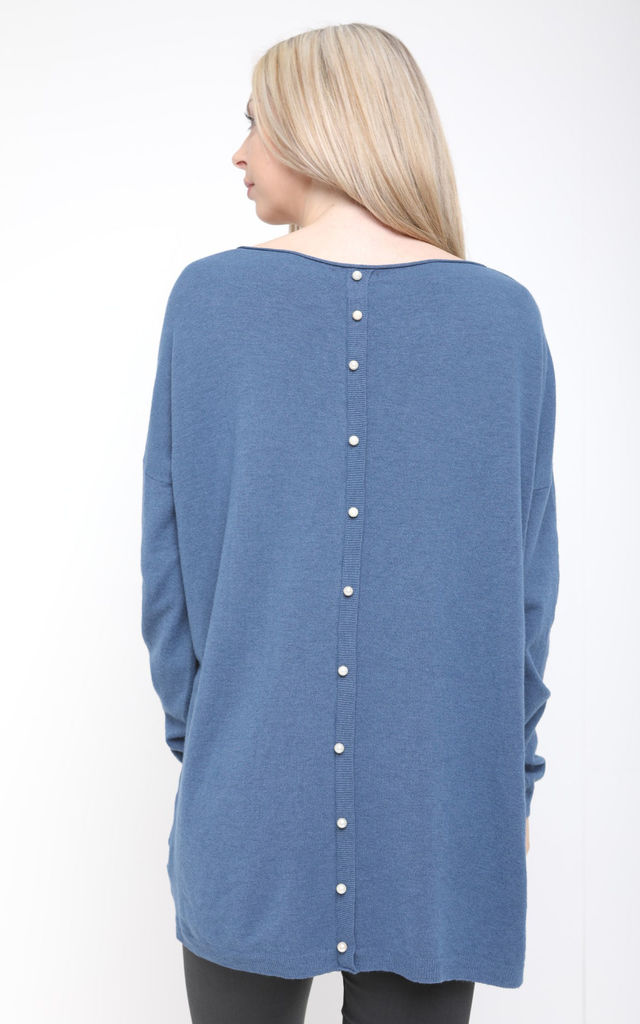 BLUE PEARL BACK KNIT JUMPER by Aftershock London