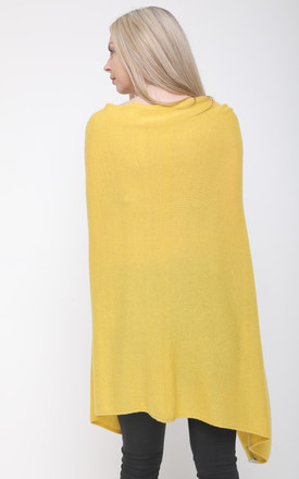 YELLOW KNIT ASYMMETRIC CASHMERE PONCHO by Aftershock London