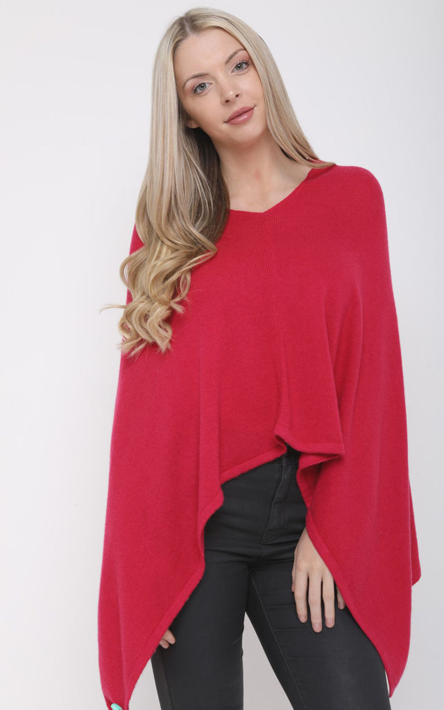 BARBERRY PINK KNIT ASYMMETRIC CASHMERE PONCHO by Aftershock London