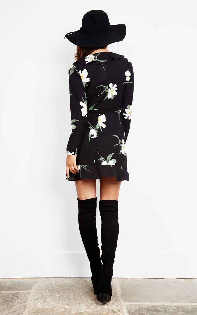 FLORAL WRAP FRILL DRESS by John Zack