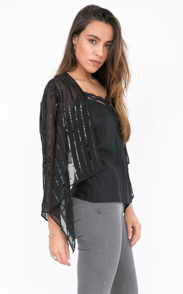 Sequins Chiffon Shrug Sheer Bolero Jacket Black by likemary