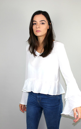 White Bell Sleeve Blouse by HAUS OF DECK