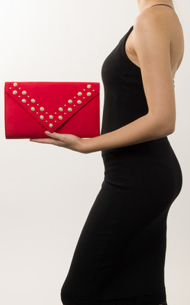 Gretchen Faux Suede Pearl Clutch Bag in Red by KoKo Couture