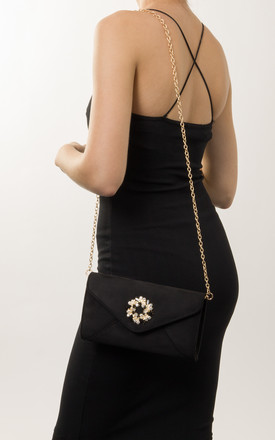 Diana Faux Suede Jewel Clutch Bag in Black by KoKo Couture