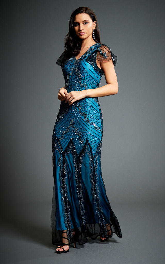 Evelyn Blue 20s Gatsby Inspired Wedding Maxi Embellished Evening Dress by Jywal