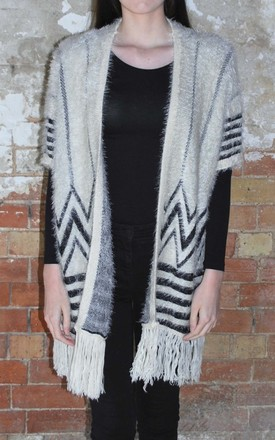 Aztec Print Open Poncho by White Leaf Product photo