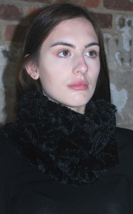 Embossed Faux Fur Snood In Black by White Leaf Product photo
