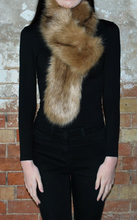 Faux Fur Stole In Mink by White Leaf Product photo