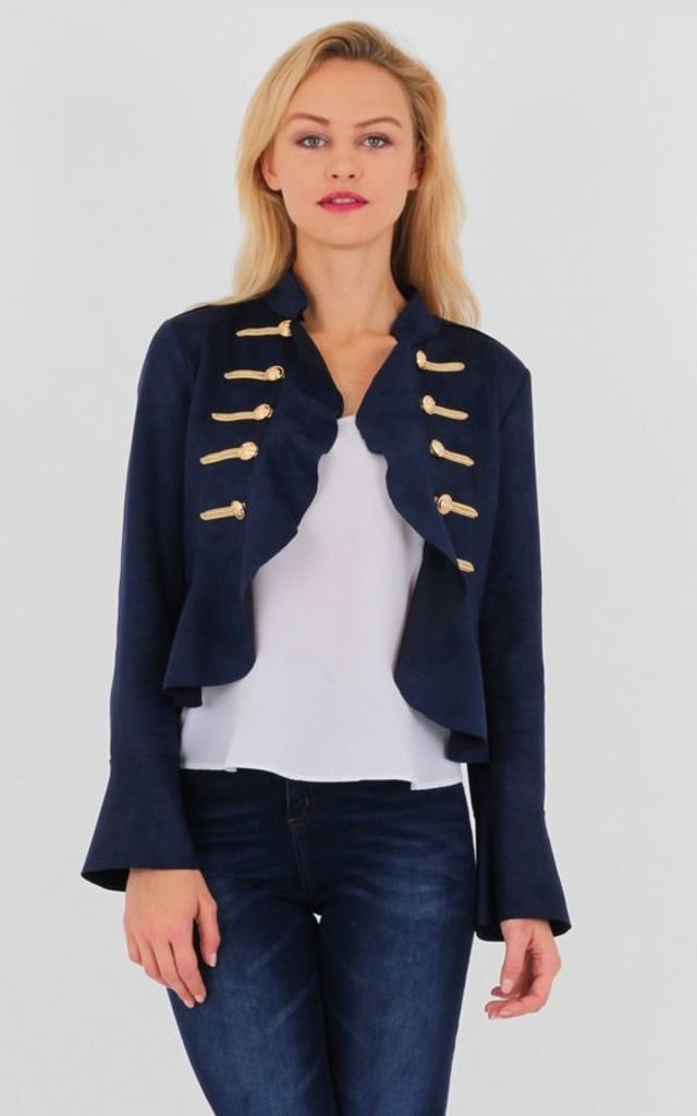Navy Suede Military Style Long Bell Sleeves Ruffle Jacket by MISSTRUTH