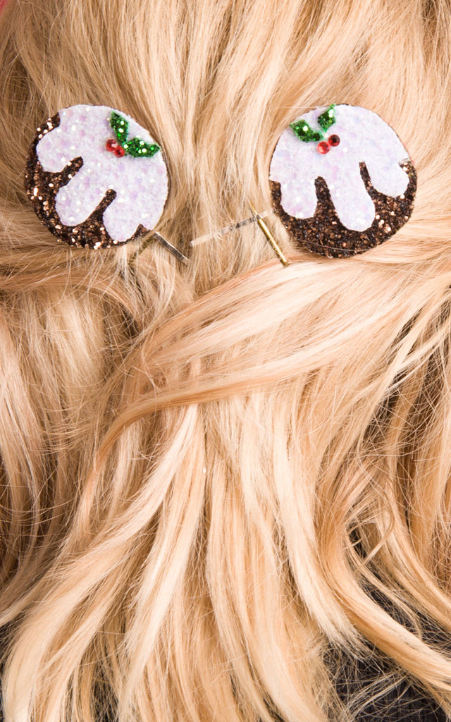 Christmas Pudding Hair Clips by Stephanieverafter