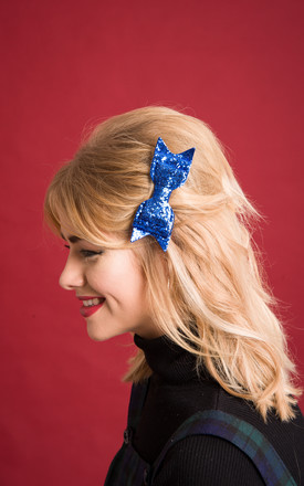 Glitter Hair Bow Blue by Stephanieverafter