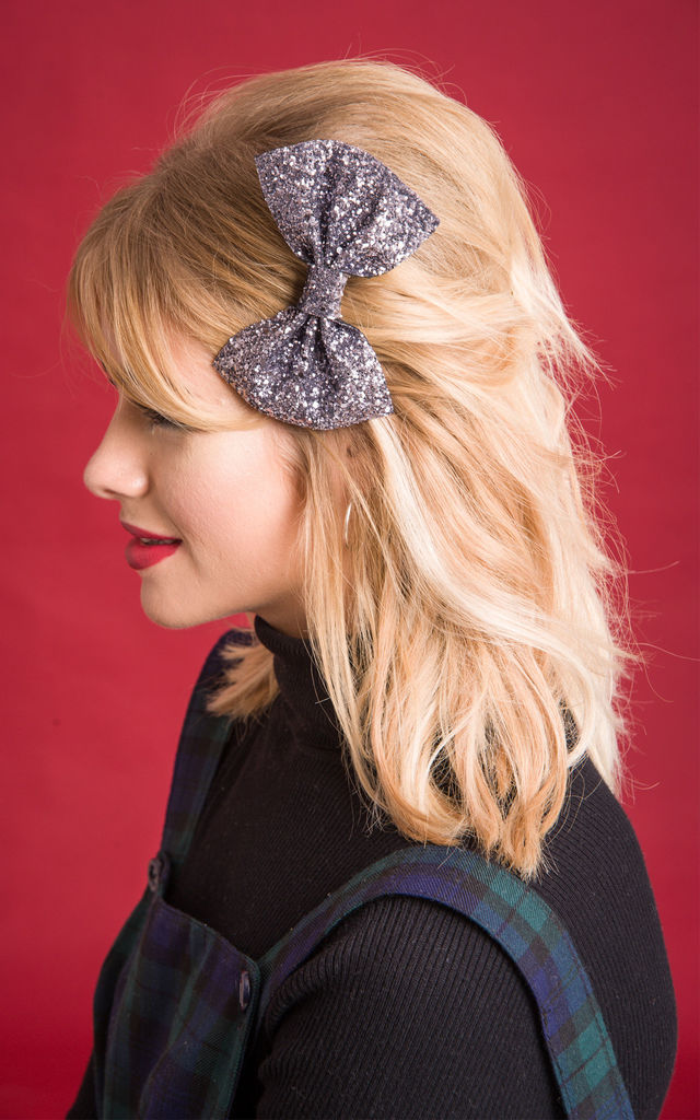 Glitter Hair Bow Silver by Stephanieverafter