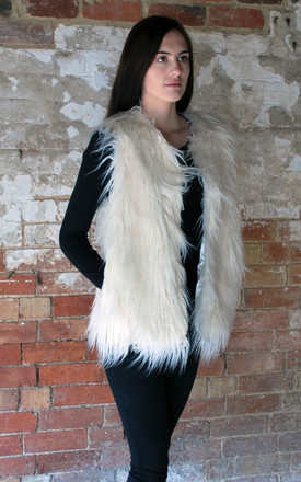 Faux Fur Gilet In Winter White by White Leaf Product photo