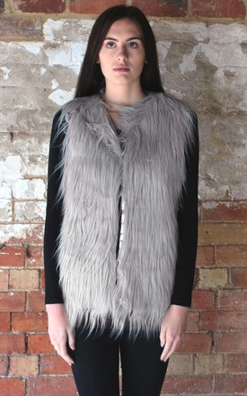 Faux Fur Gilet In Pale Grey by White Leaf Product photo
