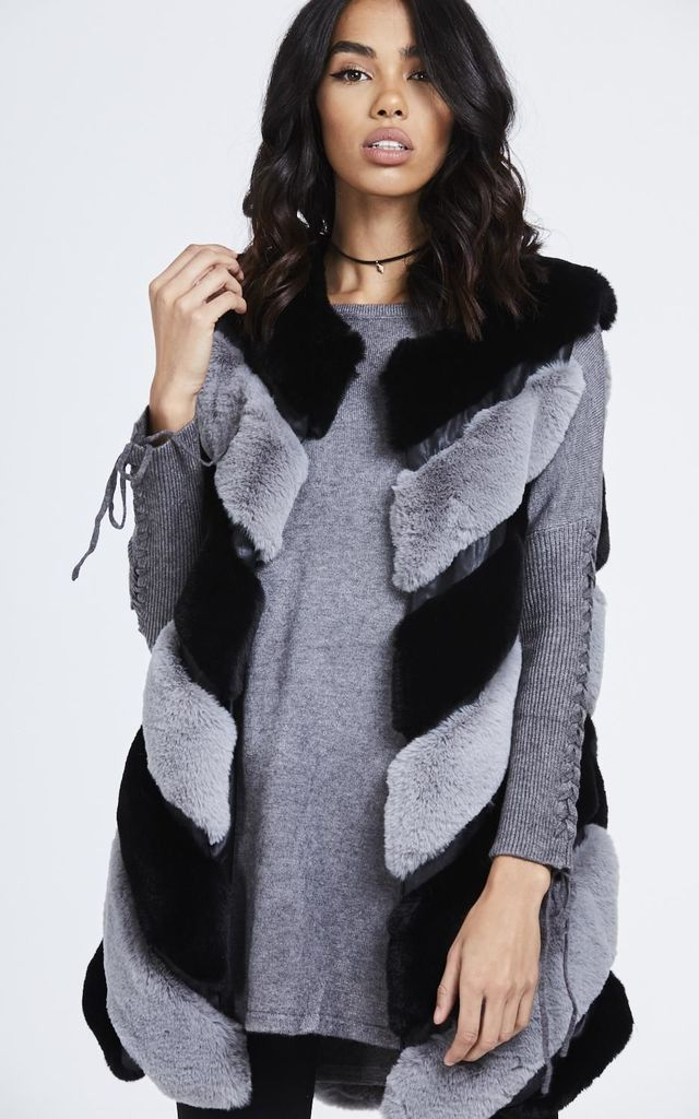 Two Tone Faux Fur Gillet by House Of Queens