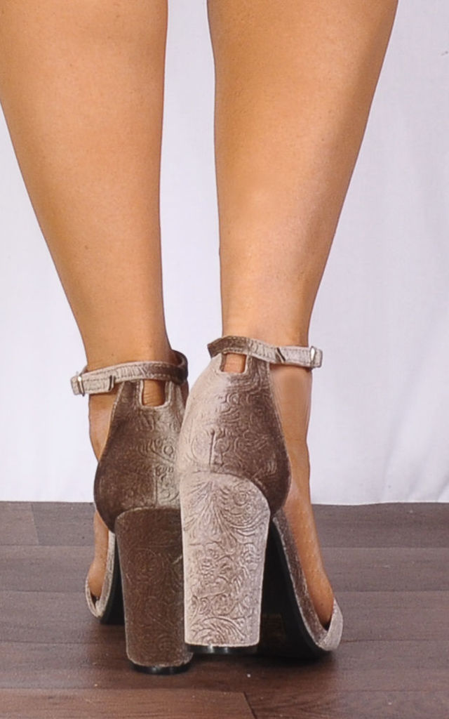 65ac539c7741 Taupe Beige Baroque Velvet Barely There Strappy Sandals High Heels by Shoe  Closet