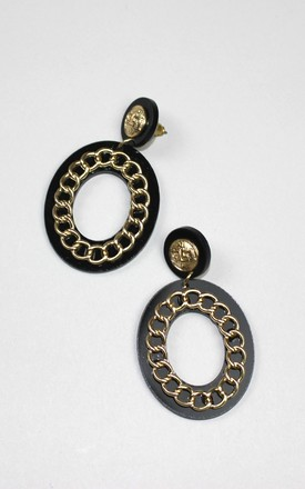 Mini Black Oval Chain Earrings by HAUS OF DECK