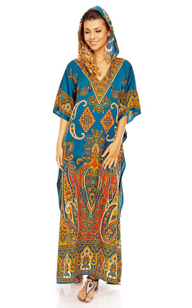 Full Length Hooded Maxi Kimono Kaftan Gown In Teal by Looking Glam