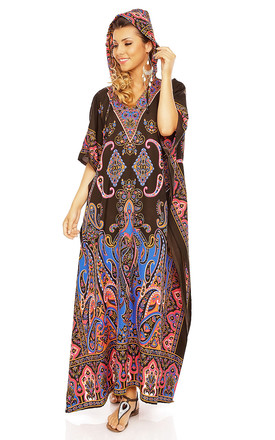 Full Length Hooded Maxi Kimono Kaftan Gown in Brown by Looking Glam