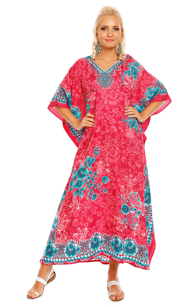 Full Length Hooded Maxi Kimono Kaftan Gown in Pink by Looking Glam