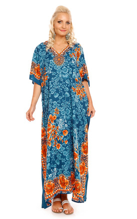 Blue Maxi Kimono With Hood by Looking Glam