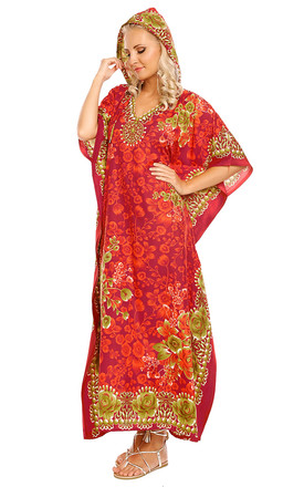 Full Length Hooded Maxi Kimono Kaftan Gown by Looking Glam