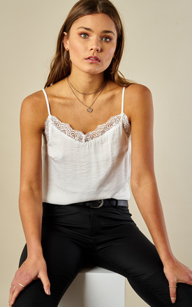 Cloud Dancer Lace Trim Cami Top by VILA