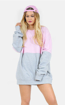 Half pink and Grey oversized jumper/dress by The Left Bank