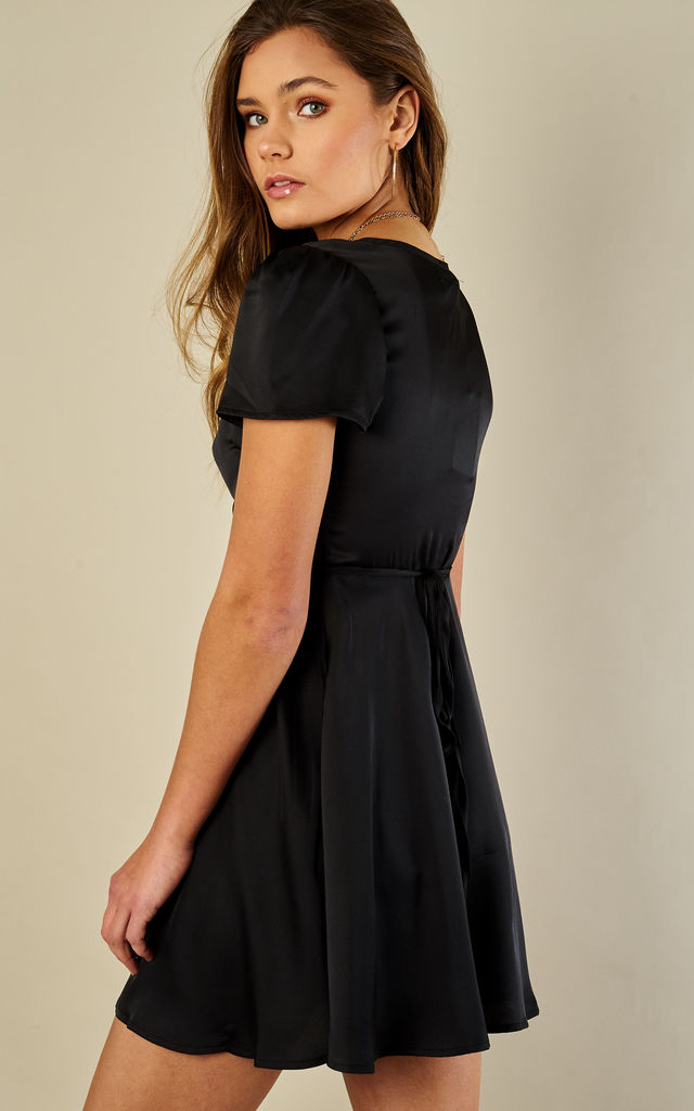Black Satin Cross Over Mini Dress by Glamorous