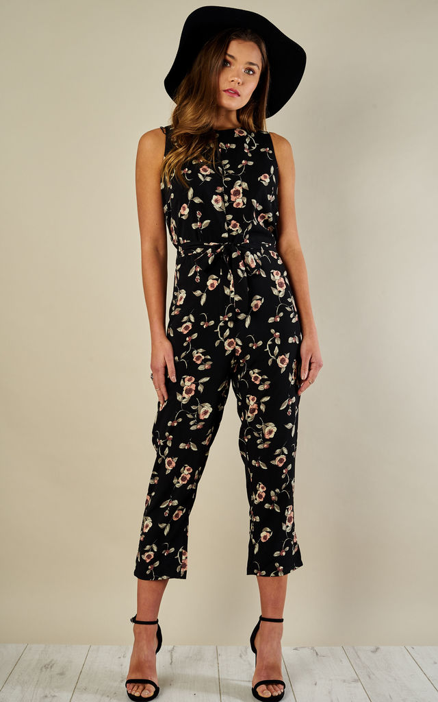 BLACK BLUSH FLORAL SLEEVELESS JUMPSUIT by Glamorous