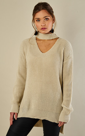 Beige Choker Neck Dip Hem Jumper by Bella and Blue Product photo