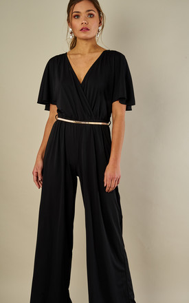 Wide Leg Wrap Over Jumpsuit Black by Oeuvre