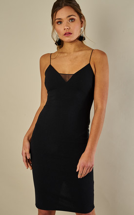 Black Mesh Insert Strappy Midi Dress by Phoenix & Feather Product photo